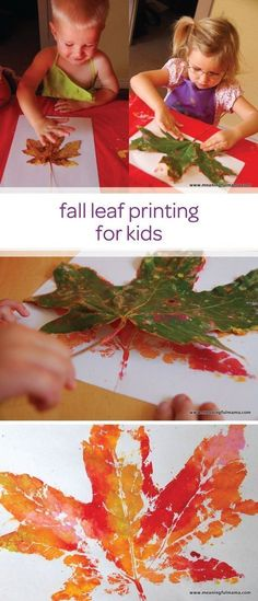 Let your little one enjoy an afternoon of painting and making a mess with child-safe paint and create this fall leaf printing toddler craft. This is a quick and creative DIY project that can easily double as a fun learning activity for your toddler to pra Autumn Crafts, Fall Crafts For Kids, Holiday Crafts, Kids Crafts, Art For Kids, Craft Projects, Kids Diy, Craft Ideas, Fall Art For Toddlers