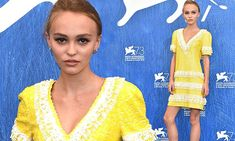 Lily Rose Depp arrives at Venice Film Festival in yellow sequin dress
