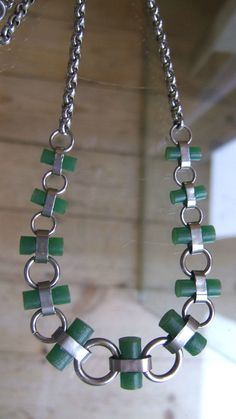 SMART MODERNIST JAKOB BENGEL GREEN GALALITH & CHROME MACHINE AGE NECKLACE | Jewellery & Watches, Vintage & Antique Jewellery, Vintage Costume Jewellery | eBay!