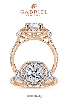 Voted #1 most preferred fine jewelry brand. Three (3) Stones Rose Gold Cushion Cut Engagement Ring