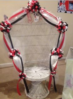 Baby shower chair decorations Baby Shower Chair, Baby Boy Shower, Baby Slide, Oak Dining Chairs, Boy Or Girl, Decorations, 101 Dalmatians, Homecoming, Shower Ideas