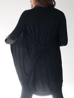 f98d607762 ALICEANNA - Soft & Flowy Black Jersey and Silk Wrap Cardigan with Unique  Drape (Black)