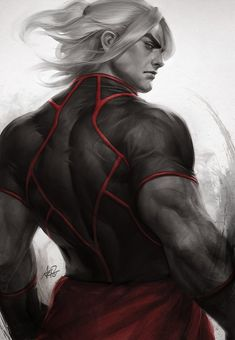 from_behind highres ken_masters looking_at_viewer looking_back monochrome muscle serious shirt short_sleeves signature stanley_lau street_fighter street_fighter_v Ryu Street Fighter, Comic Manga, Comic Art, Video Game Art, Video Games, Ken Masters, Stanley Lau, Street Fighter Characters, Street Fights