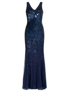 John Lewis Jessica Sequined Maxi Dress, Navy