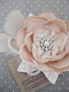 Champagne Bridal Flower Hair Piece.