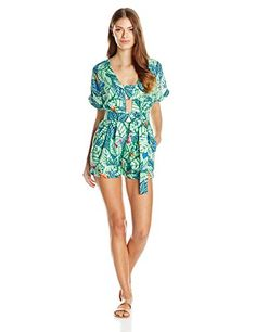 #FallFashionTrends2016 Signature leaf printed romper with #bandeau effect in front