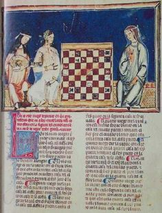 Figure 6: Two Andalusian Arab women playing chess, with a girl playing lute (Chess Problem #19, F18R) , from Alphonso X's Book of Games (Libro de los Juegos). The book was commissioned between 1251 and 1282 CE by Alphonso X, King of Leon and Castile. It reflects the presence of the Islamic legacy in Christian Spain. It is now housed at the monastery library of St. Lorenze del Escorial. (Source).