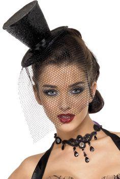Minisombrero de copa negro de viuda para mujer : Vegaoo, compra de Sombreros