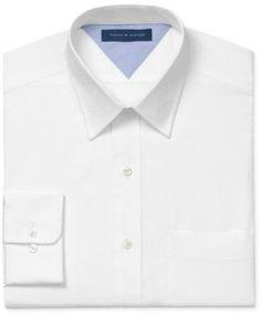 Tommy Hilfiger Mens Cotton Button Up Dress Shirt white 16