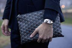 goyard portfolio, hermes cdc, ll bean shawl cardigan. #themodman // modern men, men's style