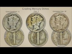 Finding an early year Mercury dime and judging the grade as Extremely Fine discovers a premium value collectable. Subtle grading points define the separation. Valuable Pennies, Valuable Coins, Bullion Coins, Silver Bullion, Silver Dimes, Silver Coins, Coin Value Chart, Gold Bars For Sale, Silver Value