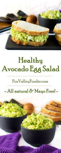 Healthy Avocado Egg Salad recipe - Mayo Free via @foxvalleyfoodie