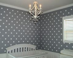 Polka Dot Stencil for Walls Large Reusable by OliveLeafStencils, $34.95 - For accent wall in nursery