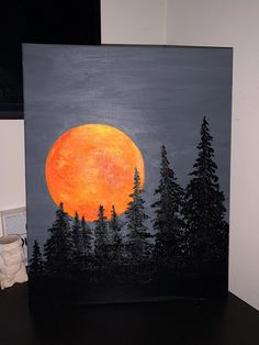 Easy Canvas Art, Simple Canvas Paintings, Small Canvas Art, Mini Canvas Art, Moon Painting, Acrylic Painting Canvas, Watercolor Art, Art Drawings, Creative Painting Ideas