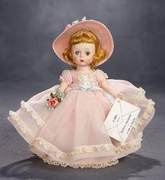 "Madame Alexander, The Rodney Waller Collection: Part Two: 50 Rare Alexander-Kins ""Ready for Garden Party"", Original Box, 1955 Antique Dolls, Vintage Dolls, Pale Blonde Hair, Net Stockings, Vintage Madame Alexander Dolls, Blue Bow, Blue Ribbon, Shabby, Pink Satin"