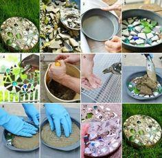 DIY Cake Pan Stepping Stones