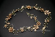 Long Gold Wedding Hair Vine of Wired Pearls and Metal Flowers