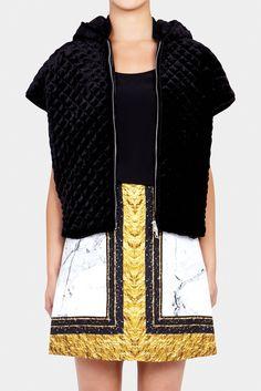 Quilted Velvet Hooded Vest | JOSH GOOT | BLACK