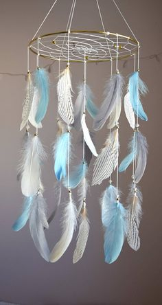 Baby Blue Gray Mobile Dreamcatcher Baby Mobile Woodland Baby