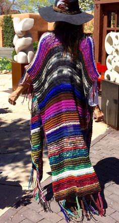 "Items similar to LONG Handknit Womens Bohemian Festival Hippie Beach Poncho Cape Shawl (""For Janyne"") on Etsy : LONG Handknit Womens Bohemian Festival Hippie Beach by poshbygosh Gypsy Style, Boho Gypsy, Hippie Style, My Style, Festival Hippie, Festival Poncho, Estilo Folk, Estilo Hippy, Bohemian Mode"