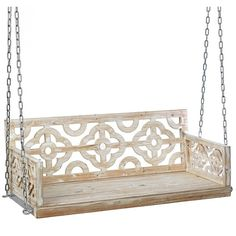 Skylar Ivory Quatrefoil Porch Swing (€185) ❤ liked on Polyvore featuring home, outdoors, patio furniture, hammocks & swings, outdoor swing, outside swing, outdoor patio swing, outdoor porch swing and outside porch swings