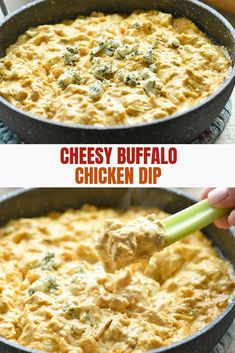 Buffalo Chicken Dip Recipe is easy to make and is sure to be a party hit. Loaded with chicken, blue cheese, and spicy hot sauce, it's your favorite buffalo chicken wing flavors in dip form! Chicken Appetizers, Chicken Dips, Cream Cheese Chicken, Best Chicken Recipes, Chicken Pasta, Appetizer Dips, Easy Baked Chicken, Skillet Chicken, Chicken Wing Flavors