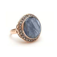 Faceted round labradorite and rose cut diamond cocktail ring by jewelry designer Arik Kastan. This vintage inspired ring is 14k rose gold and a bestseller.