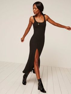 What slit? This is a tight fitting midi-length knit dress with a high slit.