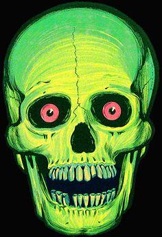 One of my favorites: vintage Halloween creepy skull diecut.