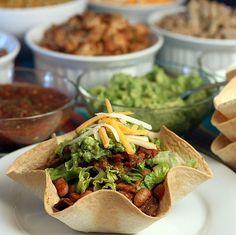A Tortilla Bowl Taco Bar... What a fun family night fare !