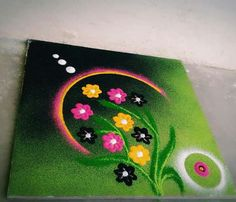 Rangoli Easy Rangoli Designs Diwali, Rangoli Designs Latest, Rangoli Designs Flower, Free Hand Rangoli Design, Rangoli Border Designs, Small Rangoli Design, Colorful Rangoli Designs, Rangoli Ideas, Rangoli Designs Images