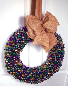Mardi Gras Beaded Door Wreath with Burlap Bow by nolabeadart