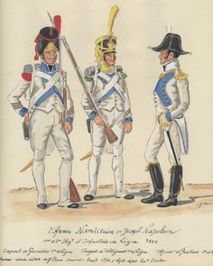 Line Infantry, Grenadier Corporal & Voltigeur Sergeant. Line Infantry, Fusilier Officer, 1806 by H. Kingdom Of Naples, Two Sicilies, Empire, French Revolution, Napoleonic Wars, Images Google, 16th Century, Warfare, Army