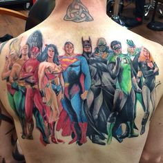 Justice League back tattoo, based on art by Alex Ross