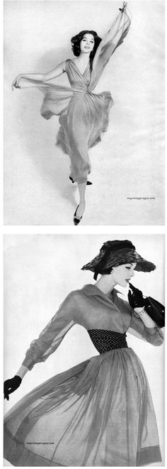 1) Harper's Bazaar January 1957 Suzy Parker wearing Adele Simpson - Photo by Richard Avedon 2) Vogue May 1956 - Model Anne St Marie Photo by Irving Penn / Conde Nast.
