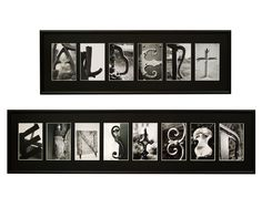 """Saying It In Pictures    Set your name - or a precious word or phrase - in pictures with these personalized framed photo wall art pieces. You can welcome guests, set just the right tone in a room or give them as a perfect personal gift. Spell out whatever you like (the frame shown says """"Albert"""" """"Einstein"""") - it can have up to 12 letters, numbers, spaces, or """"+"""" or """"&"""". Each is made up of a black and white photograph of a piece of architecture or nature."""