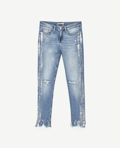 Image 11 of MID RISE SILVER-TONED JEANS from Zara