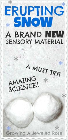"""Super easy: shaving cream and baking soda to make a powdery, fluffy material.  When that play medium has been exhausted, just add vinegar to make your """"snow"""" erupt!"""
