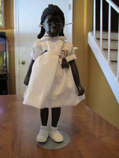 Old pictures of black dolls   Vintage Porcelain Rockwell Wilma Black African American Integration ...