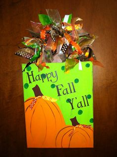 Personalized Hand Painted Fall Canvas Door by SewStickyDesigns, $25.00