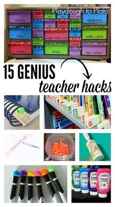 15 Genius Teacher Tips. Pick up glitter messes with a lint roller, organize books with paint sticks and so many more why didn't I think of that tricks. {Playdough to Plato}