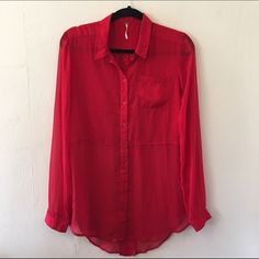 Free People Red Sheer Tunic Length Button Down Perfect for all year round. Sheer, split back. The top portion of the top isn't as sheer as the bottom so your bra etc won't show. Very lightly used. No trades no PayPal Free People Tops Tunics
