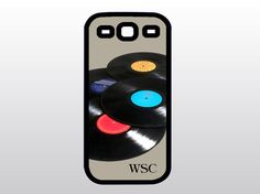 Retro Samsung Galaxy S3 Case - Vintage Vinyl Records Galaxy S3 - Gift for Guys - Monogrammed Galaxy S3
