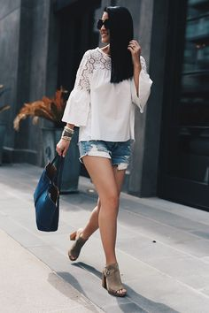DTKAustin shares her favorite summer outfit. Chicwish top, American eagle cut off shorts, Frye shoes and tote. Click for more details on the perfect summer look! | summer style ideas | summer fashion tips | summer outfit ideas | fashion tips for summer |