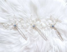 Excited to share the latest addition to my #etsy shop: Bridal hair pins set, Something blue wedding floral headpiece, Bridesmaid hair accessories, Winter wedding crystal pearl silver hair jewelry http://etsy.me/2j2YTmj