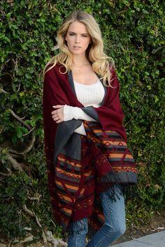 Online Clothing Boutique | Kelly Brett Boutique - Southwest Poncho Wine, $38.00 (http://www.kellybrettboutique.com/southwest-poncho-wine/)