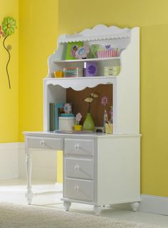 White Desk with Hutch - Perfect for a little girl's room!