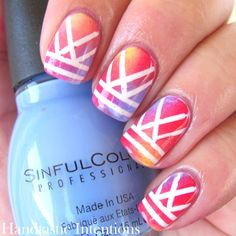 Handtastic Intentions: Nail Art: Blended Tape Mani for Tri Polish Tuesday