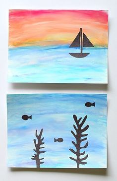 Perfect art project for summer or an ocean unit! (Art for Kids: Using Chalk and Tempera Paint to Make Ocean Scenes)~ Buggy and Buddy