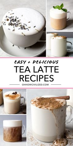 Learn to make an easy and delicious tea latte at home and save money. These easy, step by step recipes are perfect for learning how to be your own barista. Easy Drink Recipes, Tea Recipes, Yummy Drinks, Smoothie Recipes, Sweet Recipes, Yummy Food, Tea Drinks, Beverages, Barista Recipe